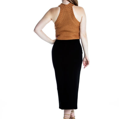 Rumour Crop Knit Top in Rust