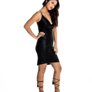 Temptation Midi Dress in Black