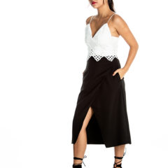 Wrapped Up In Your Love Midi Skirt in Black