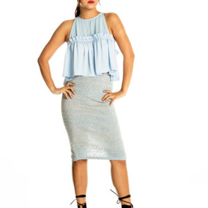 Sky's The Limit Midi Skirt in Blue/Grey
