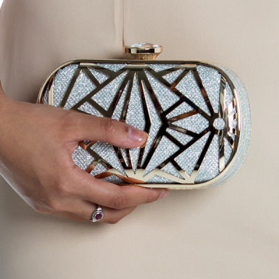 Brilliant Geo Box Clutch in Silver