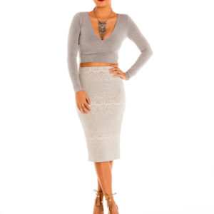 Sky's The Limit Midi Skirt in Beige/Grey