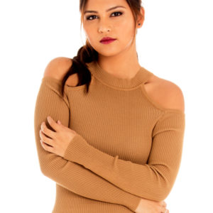 Cold Shoulders Knit Top in Camel