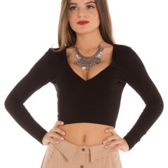 V Crop in Black