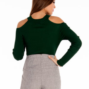 Cold Shoulders Knit Top in Forest Green