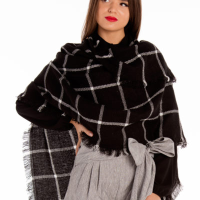Black Grid Pattern Scarf