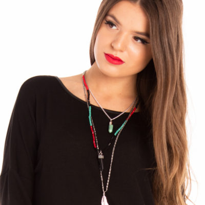 Birds of a Feather Necklace in Red
